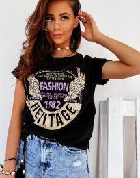 Κοντομάνικο μπλουζάκι - κώδ. 4658 - μαύρο