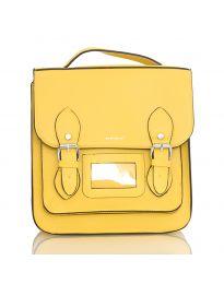 Дамска чанта в жълто с капак с катарами - код SP9027