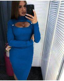 Φόρεμα - κώδ. 2144 - 1 - μπλε