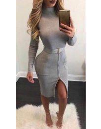 Φόρεμα - κώδ. 2053 - 1 - γκρι