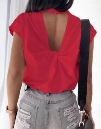 Дамска тениска с ефектен гръб в червено - код 4515