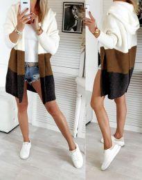 Дамска дълга плетена жилетка с качулка в три цвята - код 4587 - 3