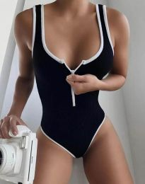 Дамско боди с цип в черно рипс - код 2232
