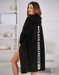 Жилетка дълга плетена с качулка в черно - код 3162