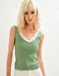 Дамски топ рипс с дантела в зелено - код 0357