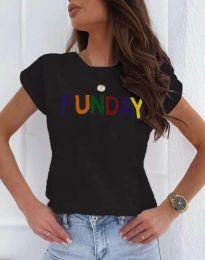 Дамска тениска в черно с надпис - код 0868