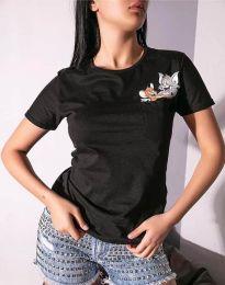 Κοντομάνικο μπλουζάκι - κώδ. 2447 - 1 - μαύρο