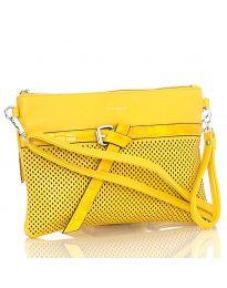 Дамска чанта в жълто с цип и декоративна катарама - код LS 589