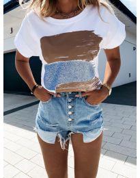 Κοντομάνικο μπλουζάκι - κώδ. 5522-3 - λευκό