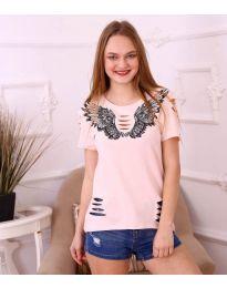 Κοντομάνικο μπλουζάκι - κώδ. 3568 - ροζ