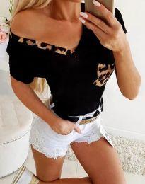 Черна дамска тениска с тигров мотив - код 1413