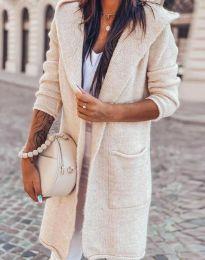 Дълга плетена дамска жилетка с качулка в бежово - код 6655