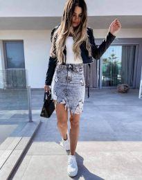 Къса асиметрична дънкова пола в сиво - код 0217