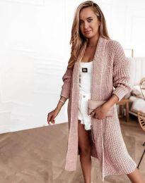 Дълга плетена дамска жилетка в цвят пудра - код 4075
