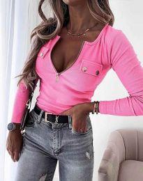 Дамска блуза с дълбоко деколте рипс в розово - код 11615