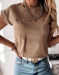 Κοντομάνικο μπλουζάκι - κώδ. 4079 - καπουτσίνο