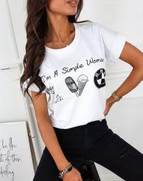Κοντομάνικο μπλουζάκι - κώδ. 8383 - λευκό