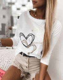 Дамска блуза с щампа в бяло  - код 4603