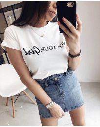 Κοντομάνικο μπλουζάκι - κώδ. 978 - 1 - λευκό