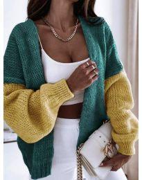 Атрактивна свободна плетена дамска жилетка в зелено и жълто - код 9843 - 5