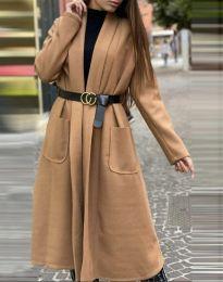Дамско дълго палто в цвят капучино - код 1566
