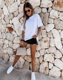 Дамска тениска в бяло с надпис - код 5398 - лице