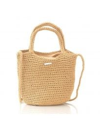 Дамска чанта в капучино от плетиво с къси и дълга дръжки - код CF226-17
