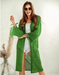 Ефектна дълга плетена дамска жилетка в зелено - код 4539