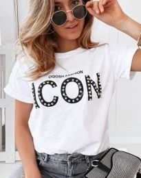 Κοντομάνικο μπλουζάκι - κώδ. 4357 - λευκό
