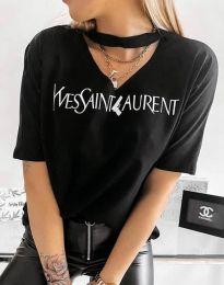 Тениска с ефектно деколте и надпис в черно - 4257