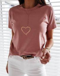 Дамска тениска в цвят пудра - код 3701