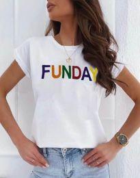 Дамска тениска в бяло с надпис - код 2923