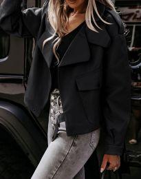 Дамско късо свободно кожено яке в черно - код 4901