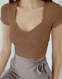 Κοντομάνικο μπλουζάκι - κώδ. 1280 - καπουτσίνο