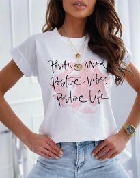 Κοντομάνικο μπλουζάκι - κώδ. 11670 - λευκό