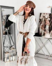 Дамска дълга плетена жилетка в бяло - код 0419