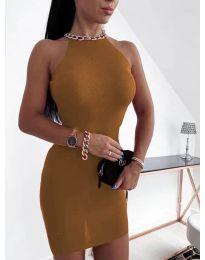 Φόρεμα - κώδ. 9690 - καφέ