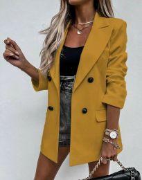 Елегантно дълго дамско сако в цвят горчица - код 3716