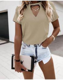 Κοντομάνικο μπλουζάκι - κώδ. 3597 - μπεζ