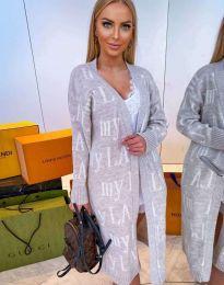 Ефектна дълга плетена дамска жилетка в сиво - код 2369