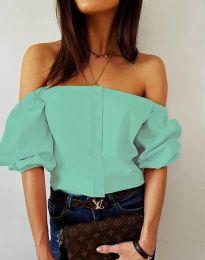 Екстравагантна дамска риза с паднали рамене в цвят мента - код 3525