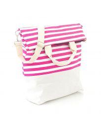 Плажна чанта на розово райе от текстил - код H - 9029 - 5