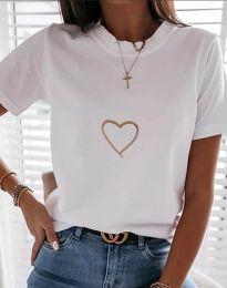 Κοντομάνικο μπλουζάκι - κώδ. 3701 - λευκό