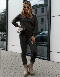 Дамски комплект блуза с дълъг ръкав и панталон в черно - код 01122