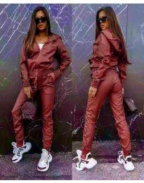 Дамски комплект кожа суичър панталон в бордо - код 6518