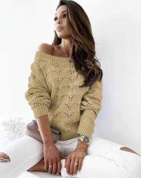 Дамски пуловер с паднало рамо в кафяво - код 1634