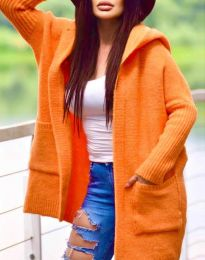 Дамска свободна жилетка с качулка в  оранжево - код 9066