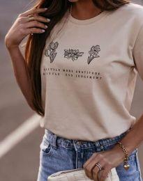 Дамска тениска с принт в бежово - код 4462
