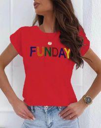 Κοντομάνικο μπλουζάκι - κώδ. 2923 - 3 - κόκκινο