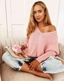 Дамски свободен пуловер с паднало рамо в цвят пудра - код 3255